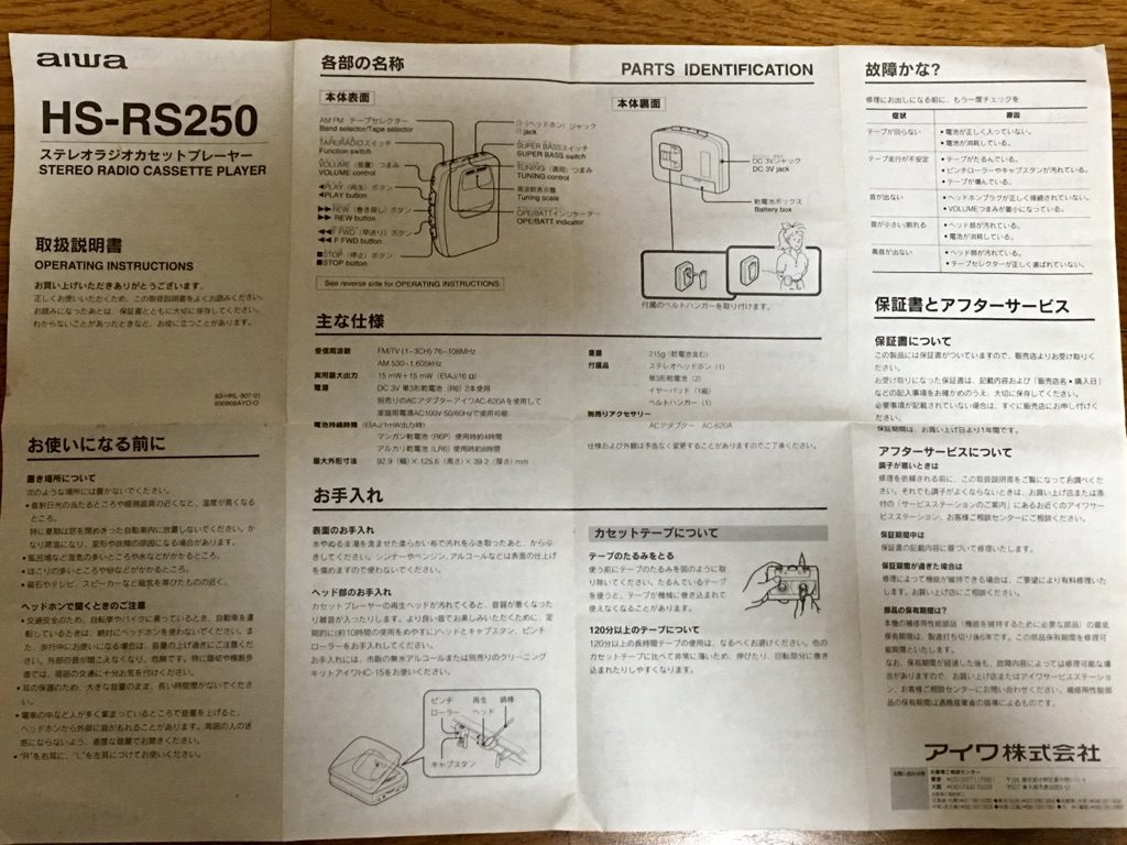 AIWA HS-RS250の取扱説明書の表