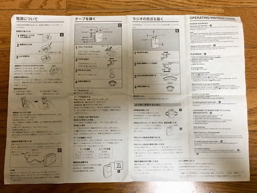 AIWA HS-RS250の取扱説明書の裏