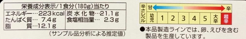 LEE 30倍の栄養成分表示